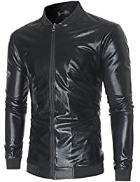 Men's Metallic Nightclub Shiny Slim Fit Varsity Baseball Bomber Zip Up Jacket JZA147