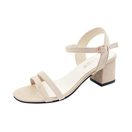 f50edcc0736 Women Girls Block Heel Ankle Strap Sandals Solid Peep Toe Square Heel  Buckle Hasp Sandals (
