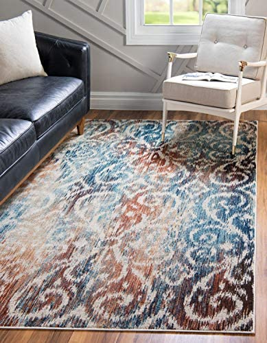 Unique Loom Mystic Collection Vintage Over-Dyed Abstract Blue Area Rug 8 0 x 10 0