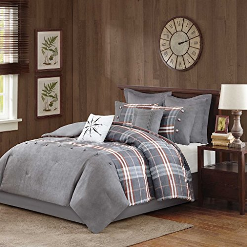 Euro Plaid Comforter (Woolrich Woodlands Faux Suede Grey/Red Plaid Twin/Twin XL Comforter Set - Bedskirt, Sham, Euro Sham and Two Decorative Pillows All Included In The Set)