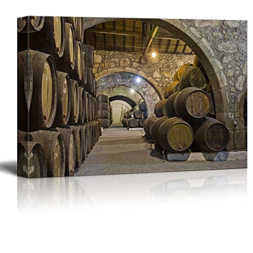 (wall26 - Canvas Prints Wall Art - Cellar with Wine Barrels | Modern Wall Decor/Home Decoration Stretched Gallery Canvas Wrap Giclee Print. Ready to Hang - 32