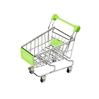 Baby Kids Simulation Mini Shopping Cart Toys Handcart Supermarket Storage Basket Trolley Toy,green,11.5x8.5x11.5cm: Everything Else