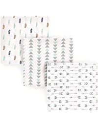 3 Piece Flannel Receiving Blanket, Boy Feathers, One Size