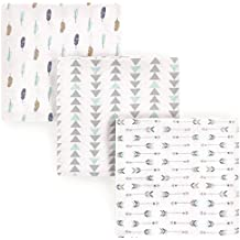 Luvable Friends 3 Piece Flannel Receiving Blanket, Boy Feathers, One Size