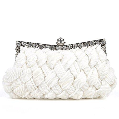 Belsen Women's Wedding Knit Style Evening Clutch Bags (White)