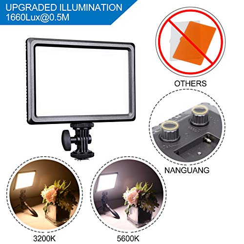 "NanGuang Luxpad22H Ultra Bright 3200K-5600K Dimmable LED Video Light, Super slim with ¼"" Mount - Includes Battery and Charger perfect for YouTube Video Close-up Photography Outdoor and Video Shooting by NanGuang"