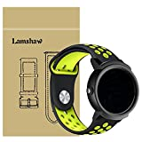 For Ticwatch E Band, Lamshaw Silicone Soft Band with Ventilation Holes Replacement Straps for Ticwatch 2/Ticwatch E Smartwatch (Ventilation Holes Silicone_Black+Yellow)