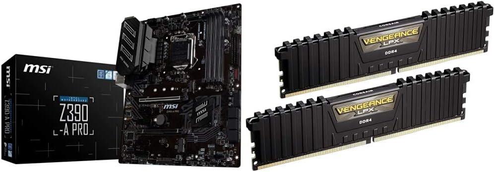 MSI Z390-A PRO LGA1151 (Intel 8th and 9th Gen) Gaming Motherboard & Corsair Vengeance LPX 16GB (2x8GB) DDR4 DRAM 3000MHz C15 Desktop Memory Kit - Black (CMK16GX4M2B3000C15)