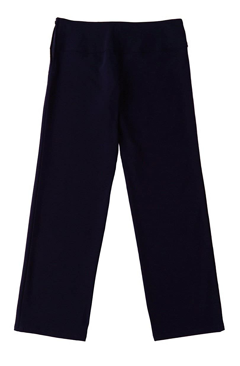 Bienzoe Girls School Uniforms Stretchy Polyester Adjust Waist Flat Front Pants