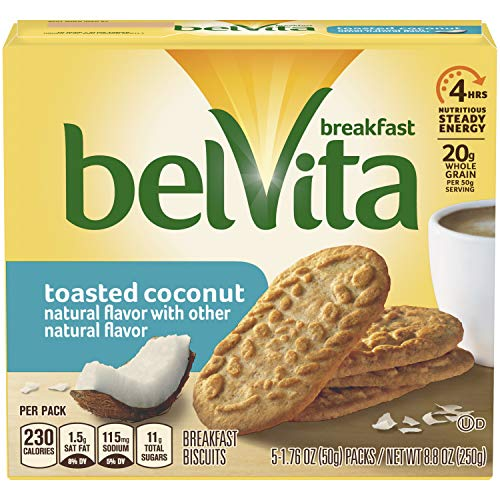 (belVita Toasted Coconut Breakfast Biscuits, 5 Count Box, 8.8 Ounce (Pack of)