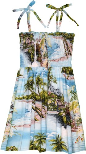 RJC Girls Paradise Island Surf Elastic Tube Top Sundress Blue 10