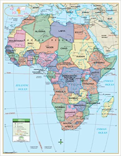 Amazoncom Africa Primary Wall Map Railed 54x69 Laminated on