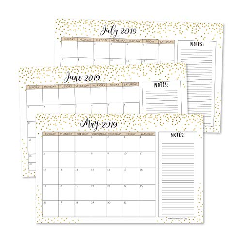 (Gold 2019-2020 Large Monthly Desk or Wall Calendar Planner, Big Giant Planning Blotter Pad, 18 Month Academic Desktop, Hanging 2-Year Date Notepad Teacher, Mom Family Home or Business Office 11x17