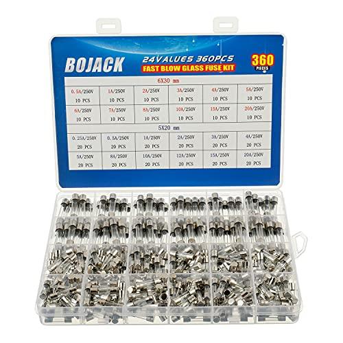 BOJACK 24 waarden 360 stuks Snelle glaszekering Assortimentset 5x20mm 250V 025 05 1 2 3 4 5 8 10 12 15 20A 6x30mm 250V 05 1 2 3 4 5 6 7 8 10 15 20A verpakking in een doorzichtige plastic doos