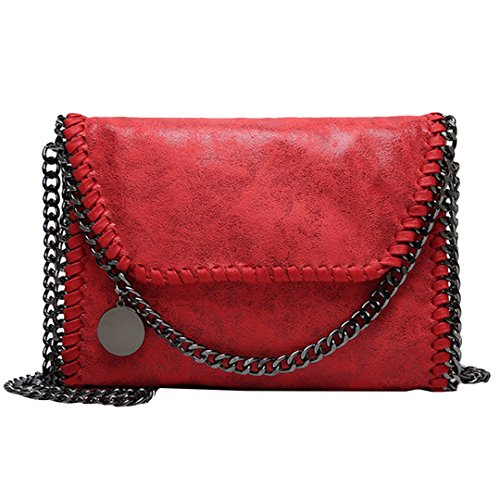 Amily PU Leather Chain Bag Cross Body Bag Hobo Handbag Clutch Shoulder Bag Messenger Bag Purse Pouch for Women Red by Amily (Image #1)