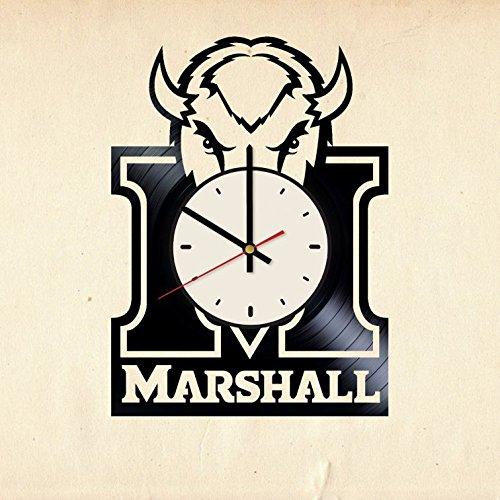 Marshall Thundering Herd football ornament decor vinyl record wall clock artwork gift idea for birthday, christmas, women, men, friends, girlfriend boyfriend and teens - living kids room nursery