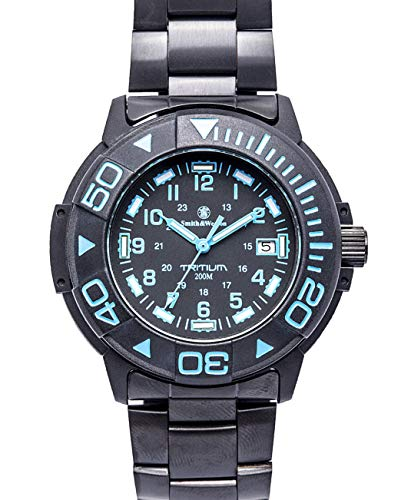 (Smith & Wesson Men's SWW-900-BLU Diver Swiss Tritium Black Dial Stainless Steel and Rubber Band Watch)