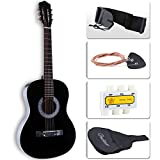 LAGRIMA 38''Acoustic Guitar with Guitar Case, Strap, Tuner & Pick 6 Steel Strings For Beginners Black