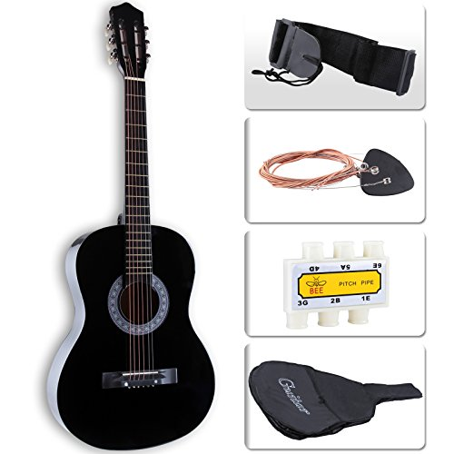 LAGRIMA 38' Acoustic Guitar with Guitar Case, Strap, Tuner & Pick 6 Steel Strings For Beginners Black