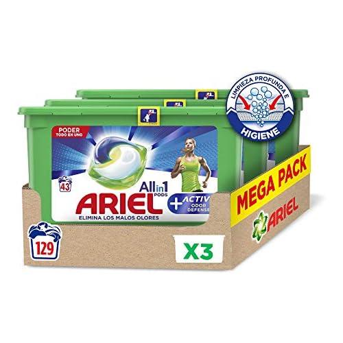 chollos oferta descuentos barato Ariel Allin1 Pods Active Detergente en cápsulas para la lavadora adecuado para eliminar los malos olores 129 lavados unidades 3 x 43