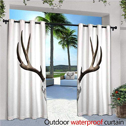 Antlers Decor Fashions Drape A Deer Skull Skeleton Head Bone Halloween Weathered Hunter Collection Outdoor Curtain Waterproof Rustproof Grommet Drape W84 x L108 -