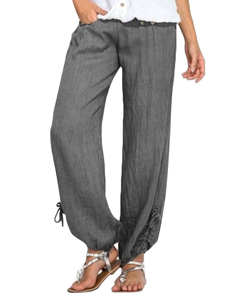 ORANDESIGNE Femme Pantalon Casual Coton Lin Dames Bloomers Pantalon Confortable Elastiqu/é Grande Taille Bouton Yoga Sarouel Pantalon avec Cordon