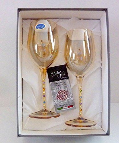 Italy Cristalleria Fratelli Fumo Fine Italian Glasses Jewels Stems Set of 2 Boxed