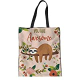 HUGS IDEA Awesome Sloth Pattern Cotton Canvas Shoulder Tote Bag for Shopping Beach Travel