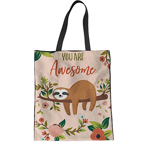 Bag Sloth Shoulder Teen Tote IDEA 4 Bag Casual Sloth Hipster HUGS College Floral Handbag Bag Linen Girl gBvzqwWZ