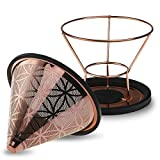 Titanium Coated Steel Reusable Cone Coffee Filter With Elegant Flower Of Life Pattern (No.2 / V60 size)