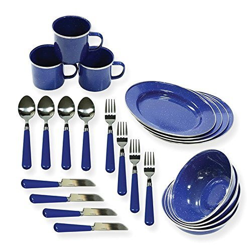 Enamel Camping Tableware (Stansport 11220 Enamel Tableware Assorted 24 Piece Set)