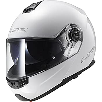 LS2 Helmets Strobe Solid Modular Motorcycle Helmet with Sunshield (White, Large)