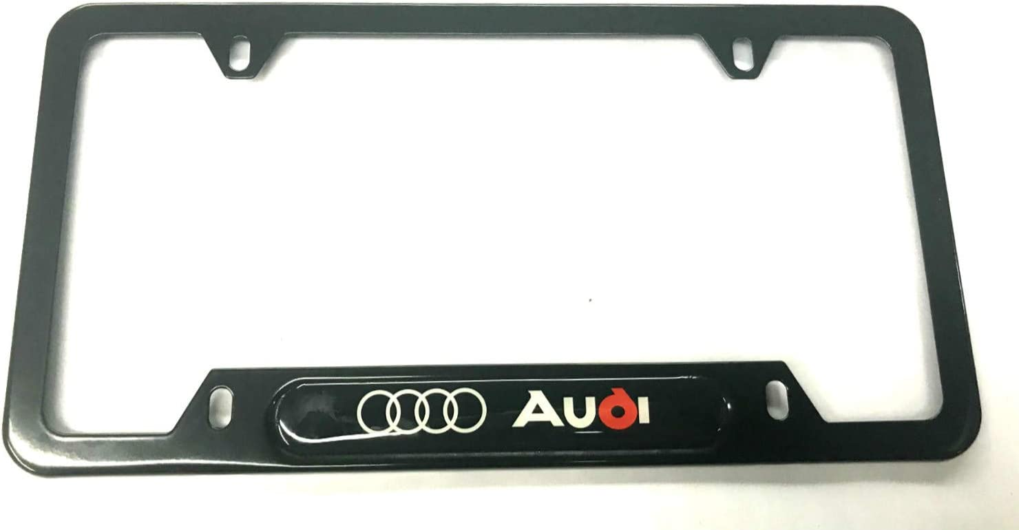 1 Silver Kimoo License Plate Tag Frame Cover Holder-Rust-Proof Blue Line Stainless Steel with Screws Caps for Audi