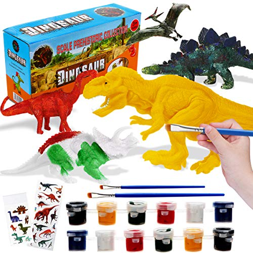 Kids Crafts and Arts Supplies Set 3D Painting Dinosaurs - Painting Dinosaurs Toys Art and Decorate Your Own Dinosaur Craft Kit Toys for Kids Ages 3 4 5 6 7 8 9.