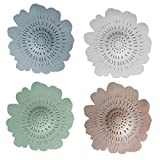 Shower Drain Covers Silicone Sink Strainer Filter Hair Catcher Anti-Slip Bathtube Drain Stopper for Home Bathroom Kitchen 4 Pack