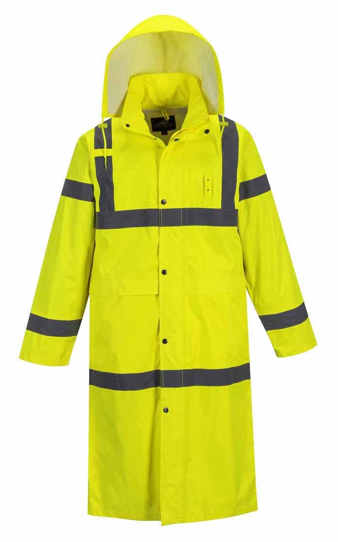 Size: 2X-Large Portwest H445YERXXL Series H445 Hi-Vis Classic Waterproof Long Raincoat Regular Yellow
