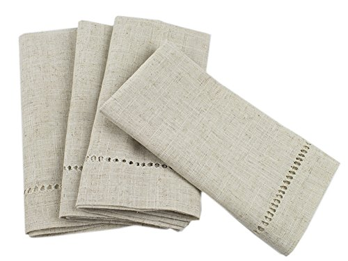 Fennco Styles Handmade Hemstitch Design Natural Dinner Napkins, 20×20 (Set of 6)
