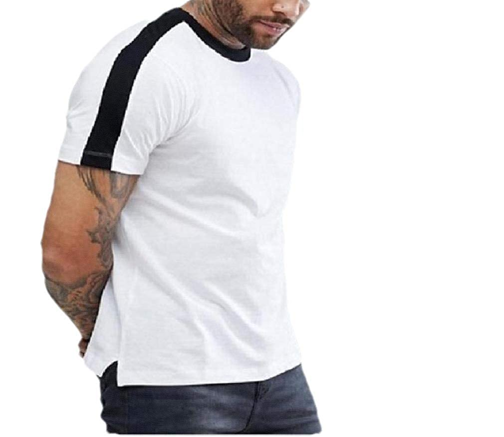 Comaba Men Short Sleeve Striped Color Conjoin Fitted O-Neck T Shirt Top