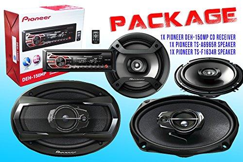 PACKAGE ! Pioneer DEH-150MP CD-Receiver + Pioneer TS-A6965R Car Speaker + Pioneer TS-F1634R Car Speakers (Mustang Subwoofer Package)
