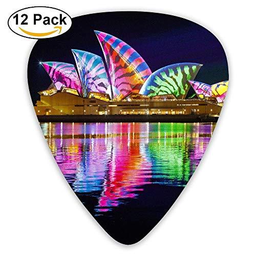 (DFNRF Opera House Sydney Australia Night Colorful Guitar Pick 0.46mm/0.73mm/0.96mm 12pack,Unique Designs in Assorted Colors)