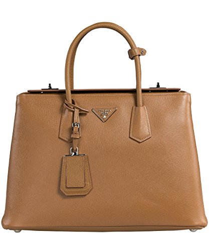 Prada Women's Saffiano Cuir Leather Handbag BN2748 F098L Caramel