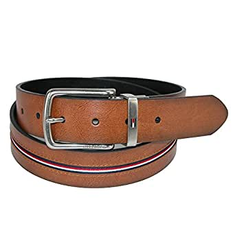Tommy Hilfiger Men's Reversible Jean Belt with Ribbon Inlay, 32, Tan/Black