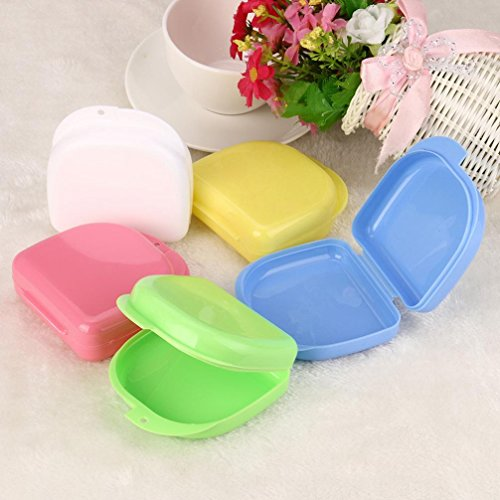 DDLBiz Portable False Teeth Box Storage Case Rinsing Basket Denture Bath Appliance