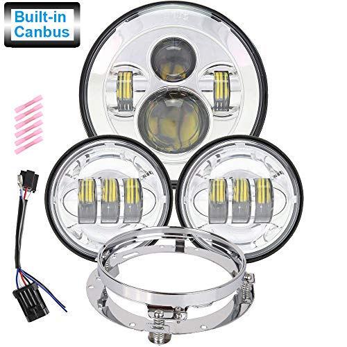 Harley Heritage Softail - 7 inch LED Headlight 4.5 inch Fog Passing Lights DOT Kit Set Ring Motorcycle Headlamp for Road King Ultra Classic Electra Street Glide Tri Cvo Heritage Softail Deluxe Fatboy Chrome