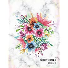 Weekly Planner 2018-2019: Marble + Floral 18-Month Planner || July 2018 - Dec 2019 Weekly View || To-Do Lists, Inspirational Quotes + Much More