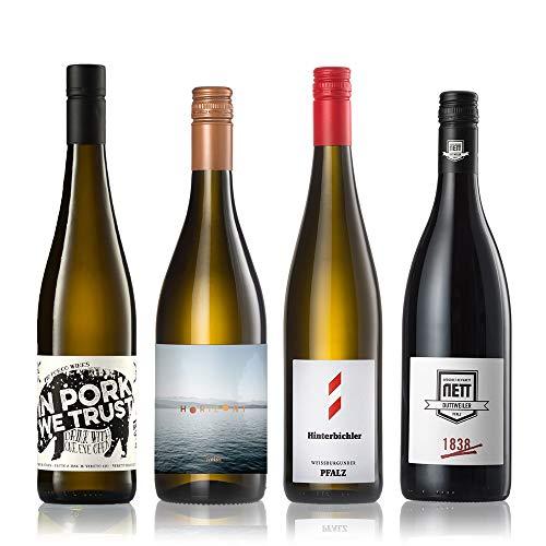 GEILE WEINE Weinpaket LIEBLINGE (4 x 0,75l) Probierpaket Weißwein und Rotwein mit Winzern Deutschland und Italien