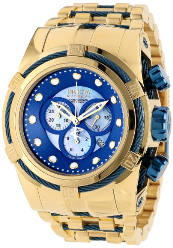 Invicta Men's 12756 Bolt Reserve Chronograph Blue Mother-Of-Pearl Dial 18k Gold Ion-Plated Stainless Steel Watch