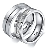 Aeici ''Forever Love'' Stainless Steel Couple Rings Silver Wedding Ring Set for Womens Size 5 Mens Size 9