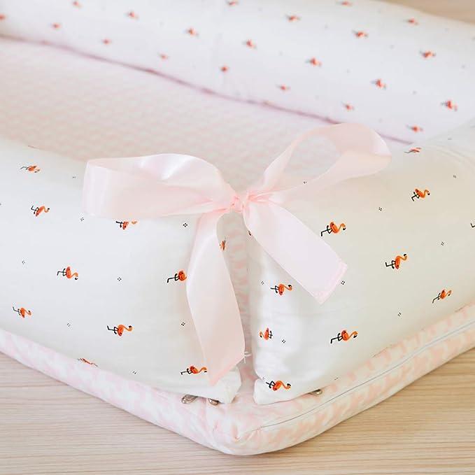 Decdeal 4in1 Babynestchen Set Krone-Form Kuschelnest Reisebett aus Baumwolle Inkl Matratze Steppdecke Kissen und Gel/ändern
