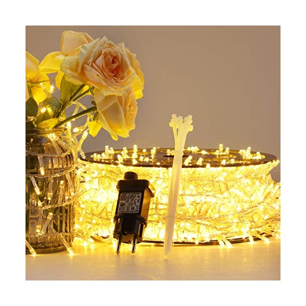 Luci Natale Esterno, GlobaLink Catena Luminosa 25M 1000 LEDs Stringa Luci Led Impermeabili, 8 Modalità Luce, Funzione Memoria per Uso Interno Esterno Natale Matrimonio Casa Giardino Feste-Bianca Calda 3 spesavip